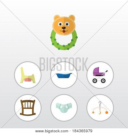 Flat Child Set Of Rattle, Nappy, Toilet And Other Vector Objects. Also Includes Rattle, Baby, Potty Elements.
