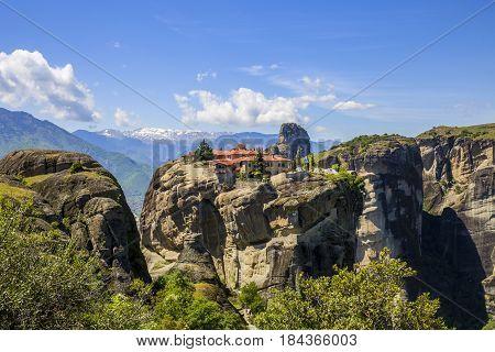 view on one of the Meteora monasteries in Kalambaka Greece