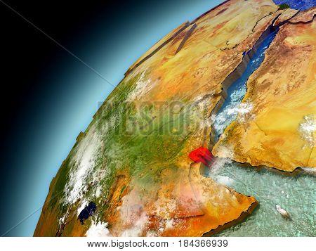 Djibouti From Orbit Of Model Earth