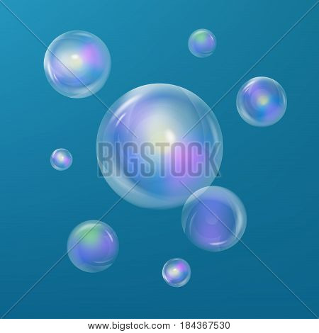 Soap bubbles. Realistic transparent soap bubbles. Soap bubbles 3D. Rainbow reflection. Vector Soap bubbles