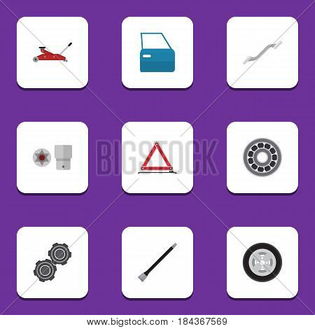 Flat Workshop Set Of Belt, Coupler, Warning And Other Vector Objects. Also Includes Star, Warning, Turnscrew Elements.