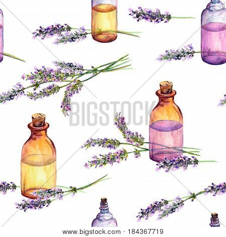 Lavender flowers and oil perfume bottles. Seamless pattern for cosmetic, perfume, beauty design. Vintage watercolor