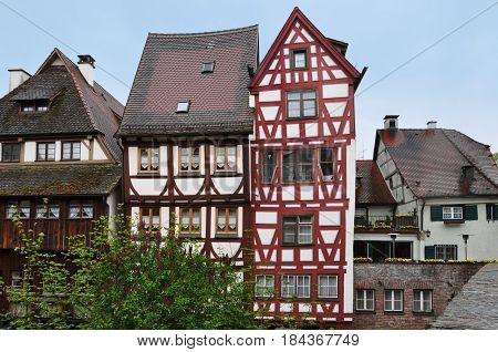 Ancient half-timbered houses in the fishermen's quarter in Ulm, Baden-Wurttemberg, Germany.