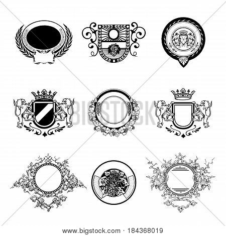 Wine badges set. hand draw vector illustration