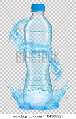 Transparent water crown and splashes in light blue colors around a plastic bottle with blue cap filled with mineral water. Transparency only in vector file