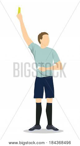 Soccer referee with yellow card. Man in unifrom on white background.