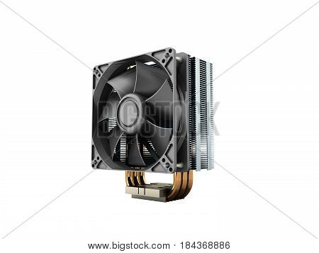 Active Cpu Cooler With The Aluminum Finned Heat-sink And The Fan 3D Render On White No Shadow