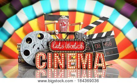 Cinema Had Light Concept Nave Lets Watch Cinema 3D Render Cinema Background