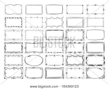 Square doodle image frames, hand drawn line borders vector set. Frame square sketch, illustration of decoration vintage frame