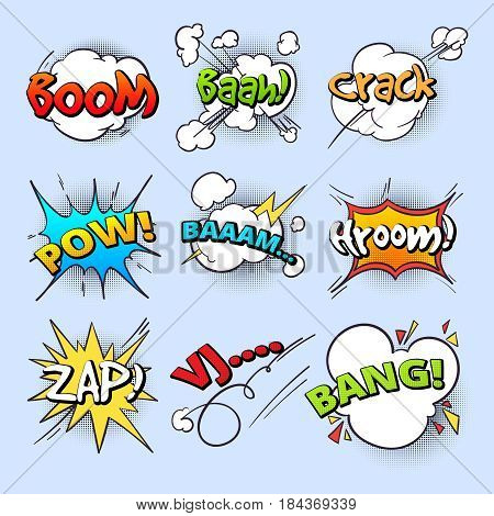 Cartoon speech bubbles, explode bang sound with comic text elements vector collection. Comic speech explosion bang text, illustration of boom bubble speech