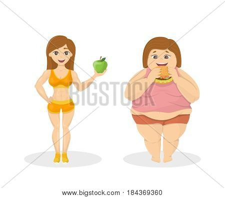 Skinny vs fat. Fit woman with apple and fat woman with fastfood.