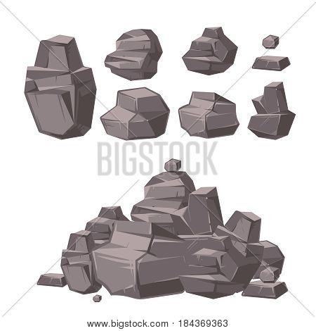 Cartoon 3d rock, granite stones, stack of boulders vector set, architecture elements for landscaping design. Heap granite stones, illustration of cartoon natural rock stone