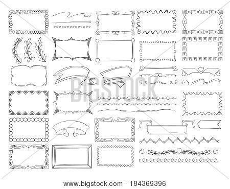Doodle frame borders, hand drawn ribbon banners and sketch design decoration elements vector set. Frame and branch, ribbon and curl elements, illustration of creativity decoration frames