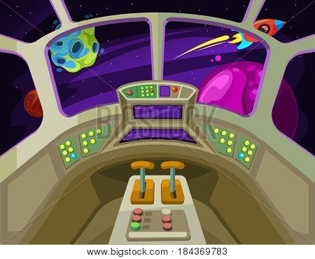 Cartoon spaceship cabin interior with windows into space with alien planets vector illustration. Interior of spaceship or rocket