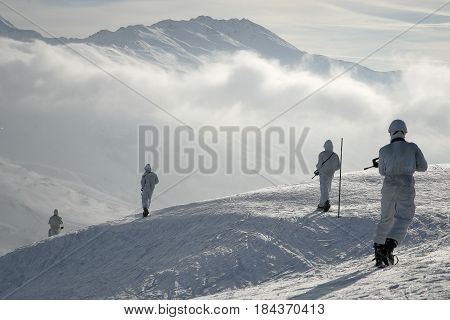 France Alps - circa 2011. Legionnaires-sappers of the 2nd foreign engineering regiment of the French foreign legion during the mountain training.