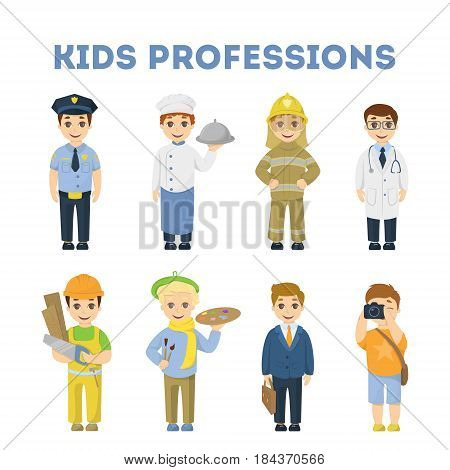 Professions for children. Firefighter and doctor, chief and artist and more.