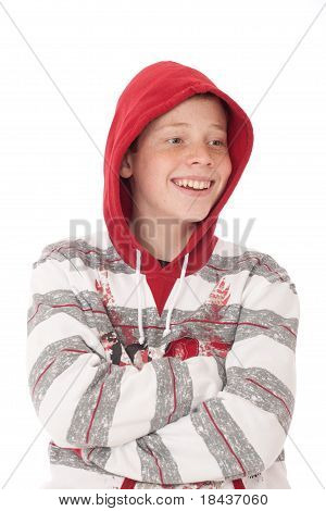 Smiling Teenager with crossed arms wearing Hood