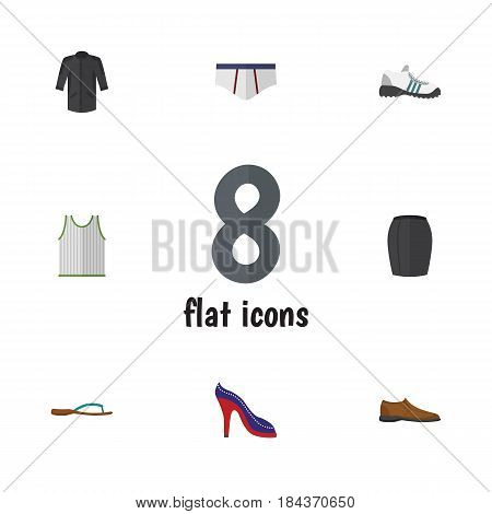 Flat Dress Set Of Male Footware, Beach Sandal, Underclothes Vector Objects. Also Includes Singlet, Shoes, Gumshoes Elements.