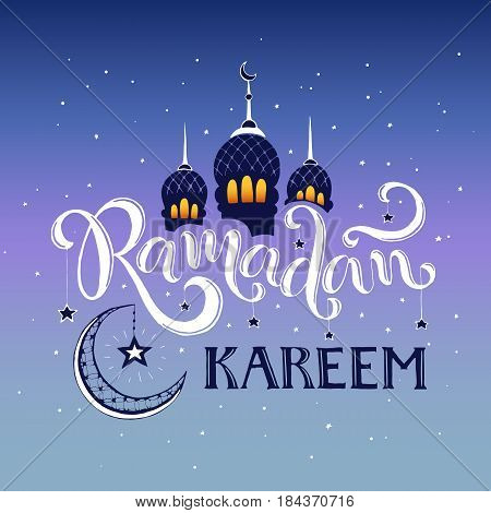 Ramadan Kareem hand drawn calligraphy on blue sky. Islam 9th month symbols. Mosque dome, crescent and stars with Ramadan wording on sunset time.