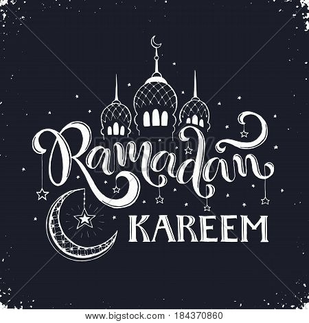Ramadan Kareem hand drawn calligraphy on chalkboard. Islam 9th month symbols. Mosque dome, crescent and stars with Ramadan wording in sketch style.