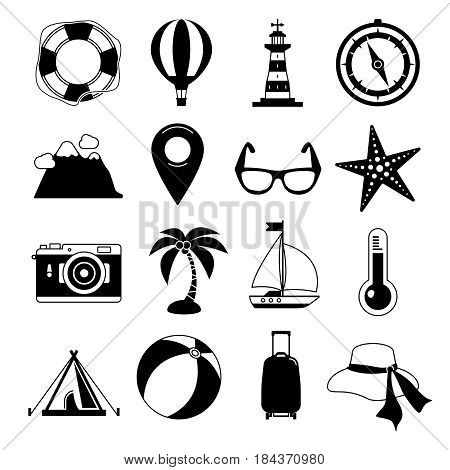 Summer time. Vector Black icon set. Sunrise, sea and vacation tour. Monochrome leisure illustrations. Set of relax and leisure icons, collection of recreation vacation black icons