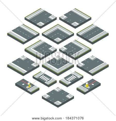 Isometric city elements road, grass and crossroads. Vector illustrations set isolate on white background. Elements parts of road, asphalt road section for design
