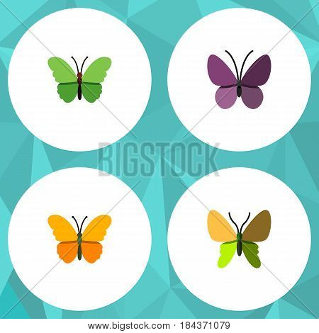 Flat Monarch Set Of Violet Wing, Milkweed, Beauty Fly And Other Vector Objects. Also Includes Monarch, Summer, Milkweed Elements.