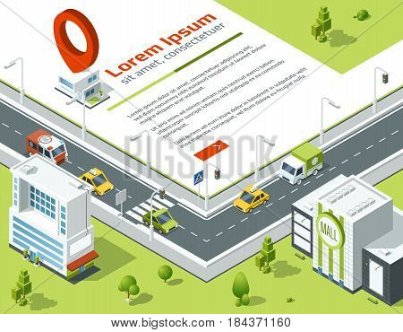 Isometric 3d city. Conceptual poster with highway and point on map location. Vector illustration. Template banner with isometric city, buildings, roads and cars isometric design