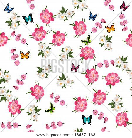 Very high quality original trendy realistic vector seamless pattern with rose bush or bouquet of roses, plum flower and peony flower. Spring or summer design