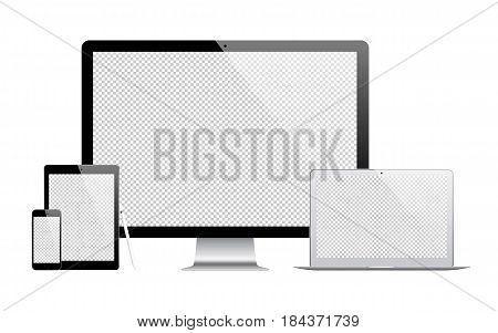 mockup gadget and device: stylus smartphone tablet laptop and computer monitor with blank screen isolated on white background. stock vector illustration eps10