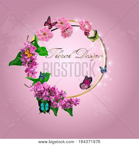 original trendy vector illustration of Japanese plum blossom or red cherry flower and lilac flower in original floral template of invitation