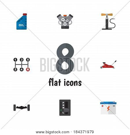 Flat Auto Set Of Motor, Carrying, Accumulator And Other Vector Objects. Also Includes Suspension, Petrol, Car Elements.