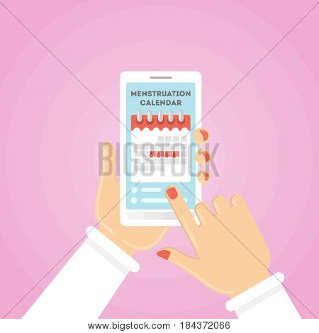 Menstruation calendar illustration. Red signs of menstrual cycle on the smartphone.