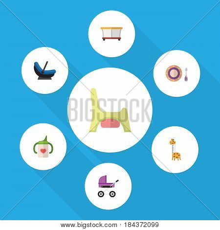 Flat Baby Set Of Playground, Stroller, Baby Plate And Other Vector Objects. Also Includes Baby, Playpen, Cradle Elements.