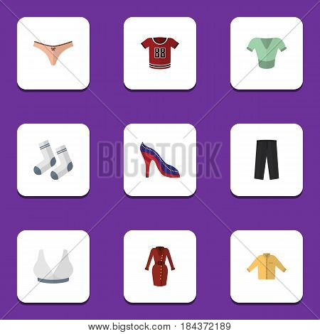Flat Garment Set Of Brasserie, Foot Textile, T-Shirt And Other Vector Objects. Also Includes Man, Banyan, Sport Elements.