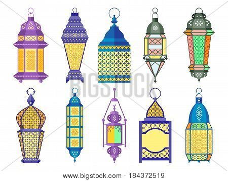Ramadan old lamps and lanterns set of arabic style. Vector illustrations. Colored lantern for ramadan, light lantern decorative