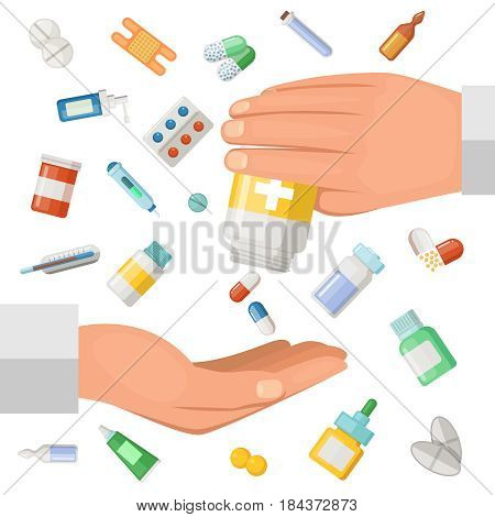 Concept illustration with hands of the doctor and some medical elements. Pharmaceutical pills, drugs. Medical drugs in hand, pharmacy antibiotic and medication