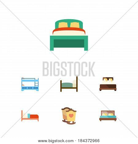 Flat Bed Set Of Bed, Hostel, Bearings And Other Vector Objects. Also Includes Bedding, Double, Hostel Elements.
