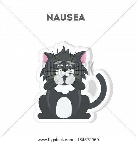 Isolated sick cat. Cute funny character on white background.