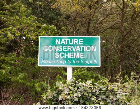 Nature Reserve Sign Outside Green Close Up