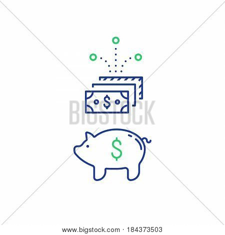 Piggy bank concept, time is money, long term investment, savings account deposit, pension fund, financial planning, vector flat icon