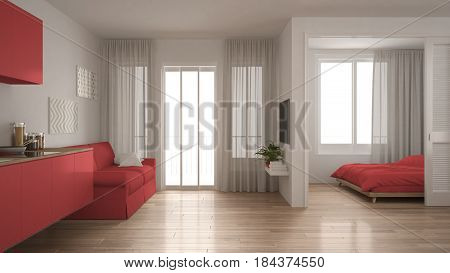 Small apartment with kitchen living room and bedroom white and red minimalist interior design, 3d illustration