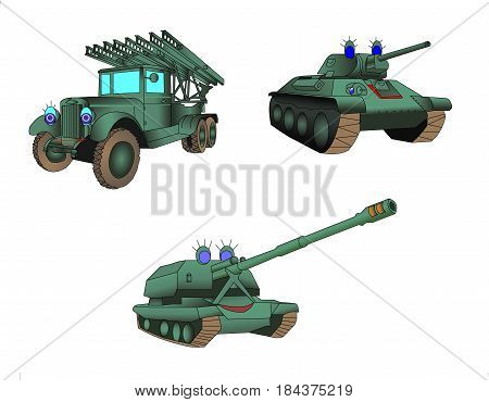 Parade of armored military equipment. The weapon. Tank, mortar, artillery