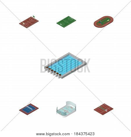 Isometric Training Set Of Volleyball, Run Stadium, Soccer And Other Vector Objects. Also Includes Football, Volleyball, Playground Elements.
