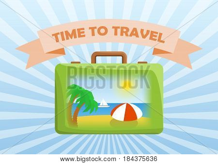 Vector illustration of bag with picture on side: palms, sand, sea, sun