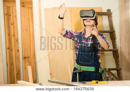 Carpenter Working  With Vr Headset Device