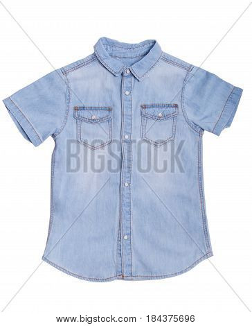 blue denim shirt with a white background