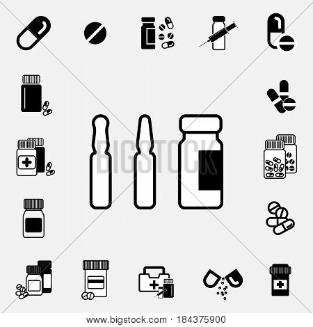 Medical ampoule or vaccine icon set. Simple medical sign isolated