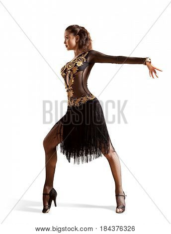 Woman dancing ballroom dancing isolated on white