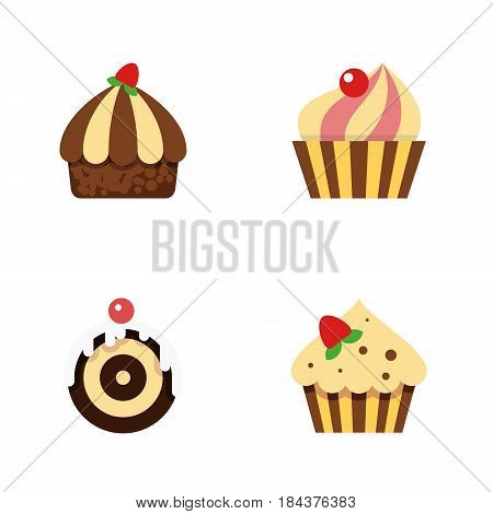 Flat Cake Set Of Confectionery, Pastry, Sweetmeat And Other Vector Objects. Also Includes Pastry, Muffin, Cake Elements.
